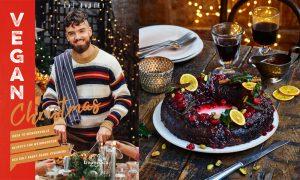 """Veganer Nusskranz Rezeptbild neben Buchcover von """"Vegan Christmas"""""""