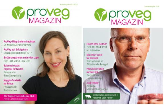 Zwei Cover des ProVeg Magazins