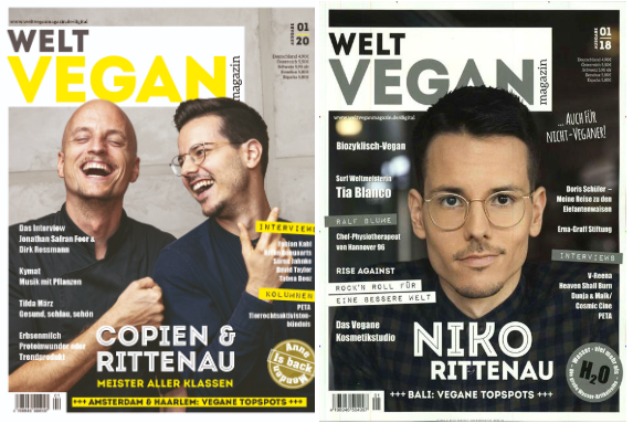 Zwei Cover des Welt Vegan Magazins