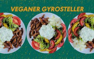 Veganer Gyrosteller mit Tomate Peperoni, Tzaziki, schwarzen Oliven, Krautsalat