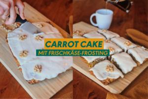 Veganer Karottenkuchen (Carrot Cake) mit Frischkäsetopping auf einem Holzbrett