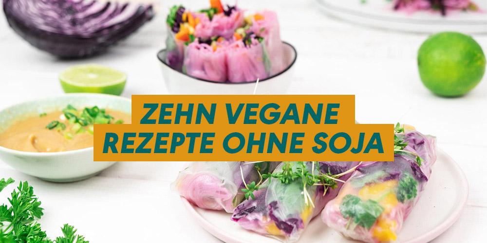 """Beitragsbild """"Zehn vegane Rezepte ohne Soja"""" im Hintergrund Summer Rolls"""