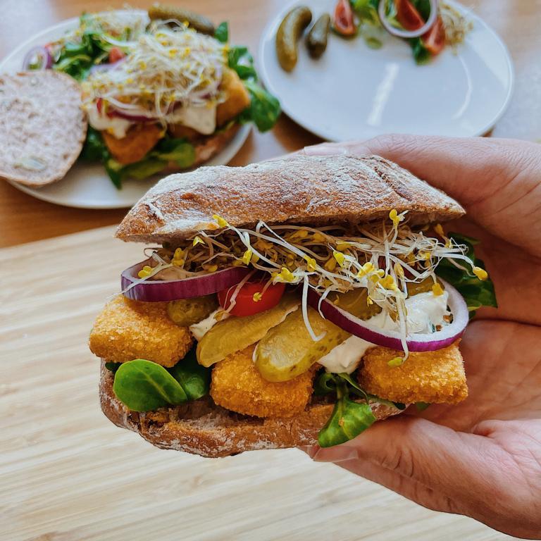 Rezeptbild Fischstäbchen Burger vegan